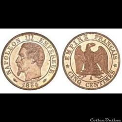 5 centimes 1854  Napoléon III Tête nue  ...