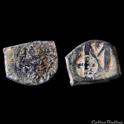 Héraclius émis pendant la restauration byzantine, entre 629 et 640 avec Contremarque