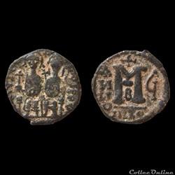 Justin II et Sophie Follis émis à Nicomédie Imitation syrienne (570-571 A.D) MIBEC 89a var