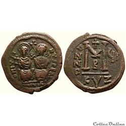 Justin II et Sophie - follis émis à Cyzique A Anno çII (572-573) Sear 372