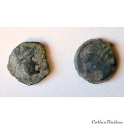 """2 """"Petit Bronze"""" au taureau chargeant MAZZA ( - 130 à -120 av JC )"""