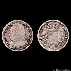 LOUIS XVIII - 5 francs - buste habillé1814 - Bayonne