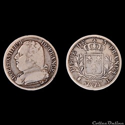 LOUIS XVIII - 5 francs - buste habillé1...