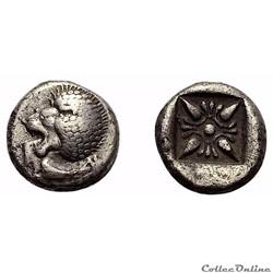 """Milet (Ionia) Diobole """"au Lion et à la fleur"""" (Douzième de statère) 6ème au 5ème s.av.J.C"""