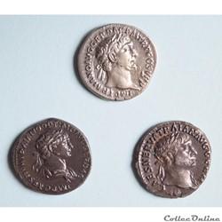 """Trajan (98 - 117) 3 deniers  """"Au Virtus"""" et à """"la Victoire"""""""