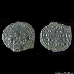 Basile 1er avec Léo et Constantin (867 - 886) Follis Constantinople - Sear 1713
