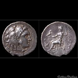 Drachme au Type d'Alexandre le Grand (Posthume) 323 -280 av.jc -  à La Lyre