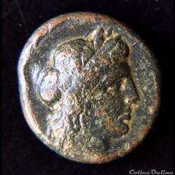 monnaie antique grecque ligue chalcidienne environ 432 348 av jc unite de bronze apollon a la lyre
