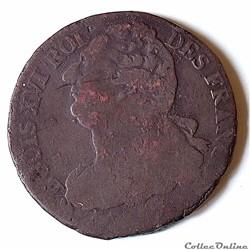 LOUIS XVI 2 sols au faisceau type François 1792 A (Paris)
