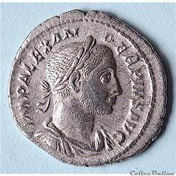 """Sévère Alexandre . Denier (232 - 235 Rome) """" L'Espérance """" RIC 254"""
