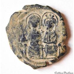 Justin II et Sophie Follis émis à Constantinople A Anno G (574-575) Sear 360
