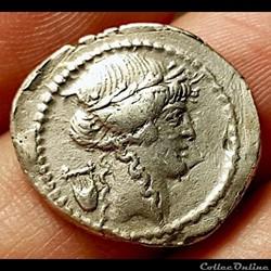 monnaie antique romaine denier claudia publius clodius apollon a la lyre 42 av jc