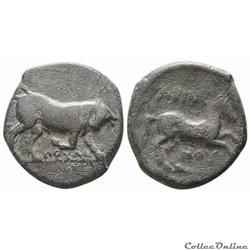 Apulia Arpi , Unité de Bronze au Taureau et au Cheval (3ème siècle av. jc)