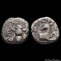 Ionie, Éphèse (390-380 AV JC), Trihémiobole à l'Abeille et au Cerf