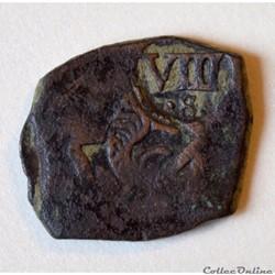"""Monnaie d'Espagne Colonial """"Pirate"""" sous Philip IV"""