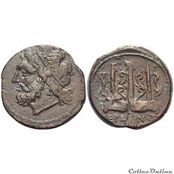 """Sicile - Syracuse. Hiéron II (275-216 av. J.-C.) Sicile - Syracuse """"Bronze au Poséidon"""""""