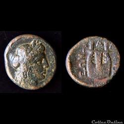 """Ligue chalcidienne environ 432 - 348 av.jc Unité de bronze """"Apollon à la Lyre"""""""