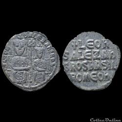 """LEO VI LE SAGE (886-912) & ALEXANDRE (912 - 913) """"co-empereur"""" Follis Constantinople"""