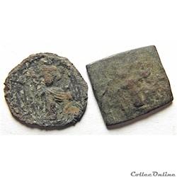 """2 Monnaies de Syrie """"Califat ancien"""" (63..."""