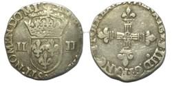Quart d'écu, croix de face 1589 Rennes H...