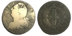 2 sols  dit au faisceau  1792 .A.  incus...