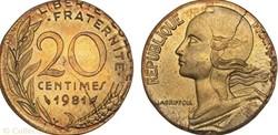 20 centimes sur flan de 10 centimes