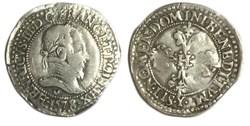 Quart de franc au col plat  HENRI III 15...