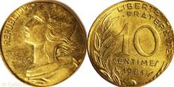 10 centimes 1981 sur flan de 5 centimes