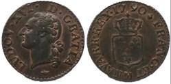 """Liard dit """"à l'écu""""  de Louis XVI 1790 M"""