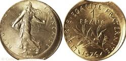 1 franc 1976 clippée frappe décentrée MS...