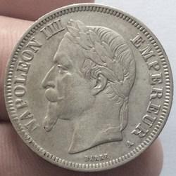2 francs Napoléon III 1867 A Paris tête ...