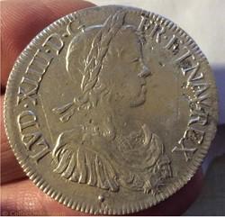Écu à la mèche longue Louis XIV 1649 & A...