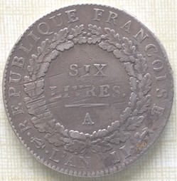 Écu de six livres type Françoise  1793 A
