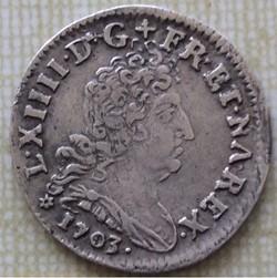 5 sols aux insignes Louis XIV 1703 BB ST...