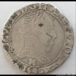 Demi franc Henri III la ligue 1590 M Tou...