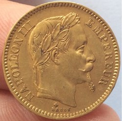20 francs or Napoléon III 1866 BB tête l...