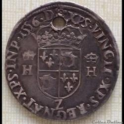 Teston du Dauphiné Henri II 1556 Z Grenoble