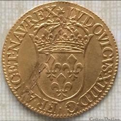 Écu d'or au soleil Louis XIII 1643 D Lyon