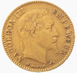 10 francs or Napoléon III 1865 A tête la...