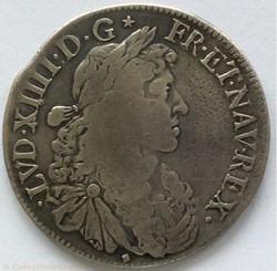 Demi écu au buste juvénile Louis XIV 166...