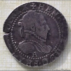 Demi franc au col gaufré Henri III 1587 A Paris