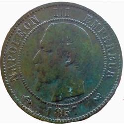 10 centimes Napoléon III 1857 W tête nue...