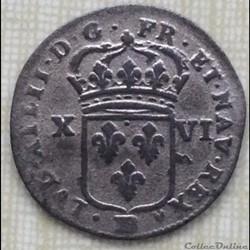 Seize deniers de Strasbourg Louis XIV 1708 BB STRASBOURG