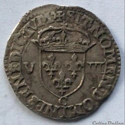 Huitième d'écu Henri IIII 1608 C Saint L...