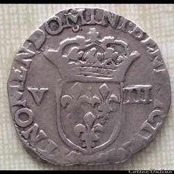 Huitième d'écu Louis XIII 1612 Rennes