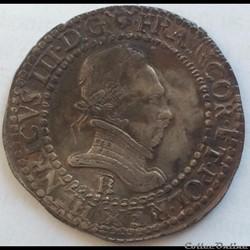 Demi franc au col plat Henri III 1587 B ...
