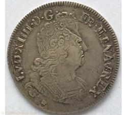 Quart d'écu aux insignes Louis XIV 1702 ...