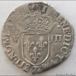 Huitième d'écu Henri III 1587 T Nantes