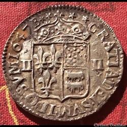 Quart d'écu du Béarn Louis XIV 1647 B Mo...