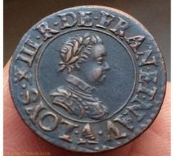 Denier tournois Louis XIII 1615 A Paris